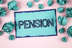 Writing note showing  Pension. Business photo showcasing Income seniors earn after retirement Saves for elderly years written on S. Writing note showing  Pension Royalty Free Stock Photos