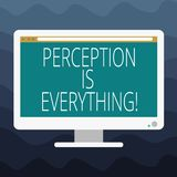 Writing note showing Perception Is Everything. Business photo showcasing how we identify failure or defeat makes difference Blank. Computer Desktop Monitor stock illustration