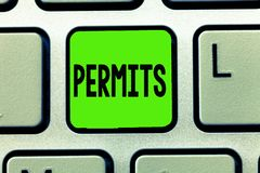 Writing note showing Permits. Business photo showcasing Officially allow someone to do something Permission Legal documents.  stock image
