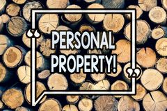 Writing note showing Personal Property. Business photo showcasing Belongings possessions assets private individual owner Wooden. Background vintage wood wild royalty free stock images