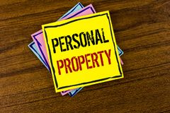 Writing note showing  Personal Property. Business photo showcasing Belongings possessions assets private individual owner written. Yellow Sticky Note Paper the Royalty Free Stock Images