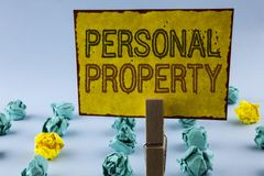 Writing note showing  Personal Property. Business photo showcasing Belongings possessions assets private individual owner written. Sticky Note Paper plain Stock Images