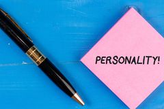 Writing note showing Personality. Business photo showcasing combination characteristics that form individuals character. stock images
