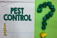 Writing note showing Pest Control. Business photo showcasing Killing destructive insects that attacks crops and livestock Square n. Otebook crumpled papers royalty free stock photo