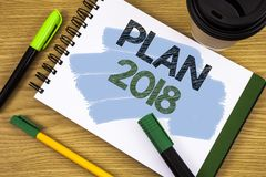 Writing note showing Plan 2018. Business photo showcasing Challenging Ideas Goals for New Year Motivation to Start. Concept For In Royalty Free Stock Photos