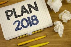 Writing note showing Plan 2018. Business photo showcasing Challenging Ideas Goals for New Year Motivation to Start. Concept For In Royalty Free Stock Images