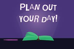 Writing note showing Plan Out Your Day. Business photo showcasing Make an schedule of activities to do everyday be. Organized Color Pages of Book on Table with stock illustration