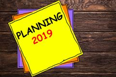 Writing note showing PLANNING 2019`. royalty free stock image