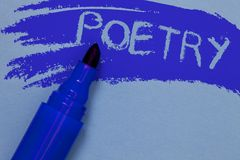 Writing note showing Poetry. Business photo showcasing Literary work Expression of feelings ideas with rhythm Poems writing Bold b royalty free stock photos