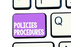 Writing note showing Policies Procedures. Business photo showcasing Influence Major Decisions and Actions Rules stock image