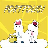 Writing note showing Portfolio. Business photo showcasing Examples of work used to apply for a job Combination of shares.  royalty free illustration