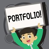 Writing note showing Portfolio. Business photo showcasing Examples of work used to apply for a job Combination of shares.  vector illustration