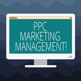 Writing note showing Ppc Marketing Management. Business photo showcasing Overseeing and analysisaging a company s is PPC vector illustration