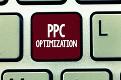 Writing note showing Ppc Optimization. Business photo showcasing Enhancement of search engine platform for pay per click.  stock images