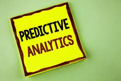 Writing note showing  Predictive Analytics. Business photo showcasing Method to forecast Performance Statistical Analysis written. Yellow Sticky note paper Royalty Free Stock Photos