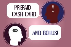 Writing note showing Prepaid Cash Card And Bonus. Business photo showcasing Money available in cards Payment services royalty free illustration