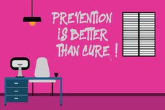 Writing note showing Prevention Is Better Than Cure. Business photo showcasing Always be aware of your health conditions. Minimalist Interior Computer and Study royalty free stock photo