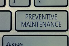 Writing note showing Preventive Maintenance. Business photo showcasing Avoid Breakdown done while machine still working.  stock image