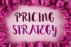 Writing note showing  Pricing Strategy. Business photo showcasing Marketing sales strategies profit promotion campaign written on. Writing note showing  Pricing Royalty Free Stock Photos
