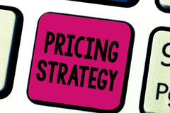 Writing note showing Pricing Strategy. Business photo showcasing set maximize profitability for unit sold or market. Overall royalty free stock image