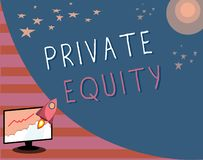 Writing note showing Private Equity. Business photo showcasing Capital that is not listed on a public exchange Investments.  stock illustration