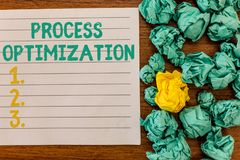 Writing note showing Process Optimization. Business photo showcasing Improve Organizations Efficiency Maximize. Throughput royalty free stock photos