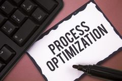 Writing note showing Process Optimization. Business photo showcasing Improve Organizations Efficiency Maximize. Throughput royalty free stock image
