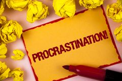 Writing note showing Procrastination Motivational Call. Business photo showcasing Delay or Postpone something boring written on S. Writing note showing royalty free stock photos