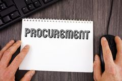Writing note showing  Procurement. Business photo showcasing Obtaining Procuring Something Purchase of equipment and supplies writ. Ten Notepad wooden background Stock Image