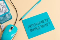 Writing note showing Procurement Management. Business photo showcasing buying Goods and Services from External Sources royalty free stock photo