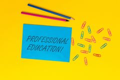 Writing note showing Professional Education. Business photo showcasing Continuing Education Units Specialized Training. Writing note showing Professional royalty free stock photos