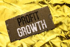 Writing note showing  Profit Growth. Business photo showcasing Financial Success Increased Revenues Evolution Development written. Tear Cardboard Piece the Royalty Free Stock Images