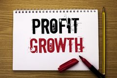 Writing note showing  Profit Growth. Business photo showcasing Financial Success Increased Revenues Evolution Development written. Notebook Book the wooden Stock Images