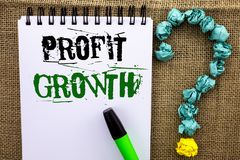 Writing note showing  Profit Growth. Business photo showcasing Financial Success Increased Revenues Evolution Development written. Notebook Book the jute Stock Image