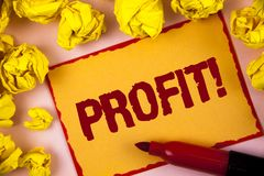 Writing note showing  Profit Motivational Call. Business photo showcasing Earned Money Payment Salary Business Revenue written on. Writing note showing  Profit Stock Photo