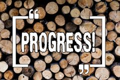 Writing note showing Progress. Business photo showcasing Development Growth Process of improvement to achieve a goal Wooden. Background vintage wood wild stock image