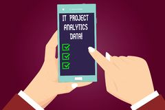 Writing note showing It Project Analytics Data. Business photo showcasing Information technologies modern applications. Hu analysis Hands Holding Pointing royalty free illustration