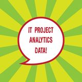 Writing note showing It Project Analytics Data. Business photo showcasing Information technologies modern applications. Speech Bubble with Border Empty Text royalty free illustration