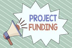 Writing note showing Project Funding. Business photo showcasing paying for start up in order make it bigger and successful.  royalty free illustration
