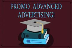 Writing note showing Promo Advanced Advertising. Business photo showcasing inform target audiences the merits of a. Product Color Graduation Hat with Tassel 3D vector illustration