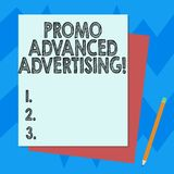 Writing note showing Promo Advanced Advertising. Business photo showcasing inform target audiences the merits of a. Product Stack of Different Pastel Color royalty free illustration