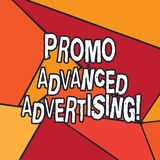 Writing note showing Promo Advanced Advertising. Business photo showcasing inform target audiences the merits of a. Product Uneven Cut Colorful Geometric Shape stock illustration