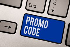 Writing note showing Promo Code. Business photo showcasing digital numbers that give you good discount on certain product Keyboard. Blue key Intention computer royalty free stock photo