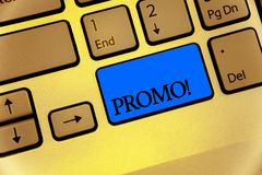 Writing note showing Promo Motivational Call. Business photo showcasing Piece of advertising Discount Special Offer Sale Keyboard. Brown key yellow laptop Stock Images