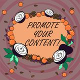 Writing note showing Promote Your Content. Business photo showcasing inform or persuade target audiences about the. Product Floral Wreath made of Tiny Seeds vector illustration
