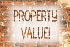 Writing note showing Property Value. Business photo showcasing Estimate of Worth Real Estate Residential Valuation Brick Wall art. Like Graffiti motivational royalty free stock images