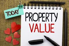 Writing note showing Property Value. Business photo showcasing Estimate of Worth Real Estate Residential Valuation written on Not. Writing note showing Property stock images
