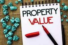 Writing note showing Property Value. Business photo showcasing Estimate of Worth Real Estate Residential Valuation written on Not. Writing note showing Property royalty free stock photos