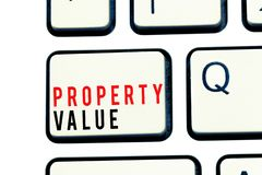 Writing note showing Property Value. Business photo showcasing Worth of a land Real estate appraisal Fair market price.  stock photo