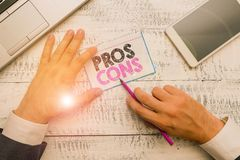 Writing note showing Pros Cons. Business photo showcasing The favorable and unfavorable factors or reasons of